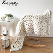 REGINA Cozy Chenille Chunky Knit Blanket Throw For Bed Sofa Bedroom Living Room Decorative Mat Rug Carpet Summer Quilt Blankets