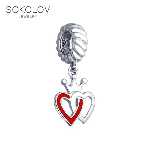 Charm Pendant SOKOLOV Silver Two Hearts