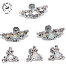 2PCS G23 Titanium&Steel Opal Cluster Ear Tragus Helix Cartilage Crystal Earring Stud Labret Bar Lip Ring Body Piercing Jewelry