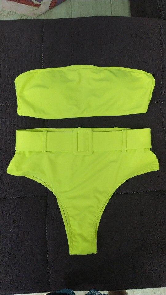 High Waist Bikini 2021 Sexy Black Swimwear Women Swimsuit High Leg Bandeau Bikinis Set Swimming for Bathing Suit Woman Swimsuits|Bikini Set|   - AliExpress