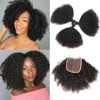 Mongolian Afro Kinky Curly Hair Bundles With Closure NonRemy Human Hair Bundles With Closure 3 Bundles With Closure Medium Ratio - DISCOUNT ITEM  40% OFF All Category