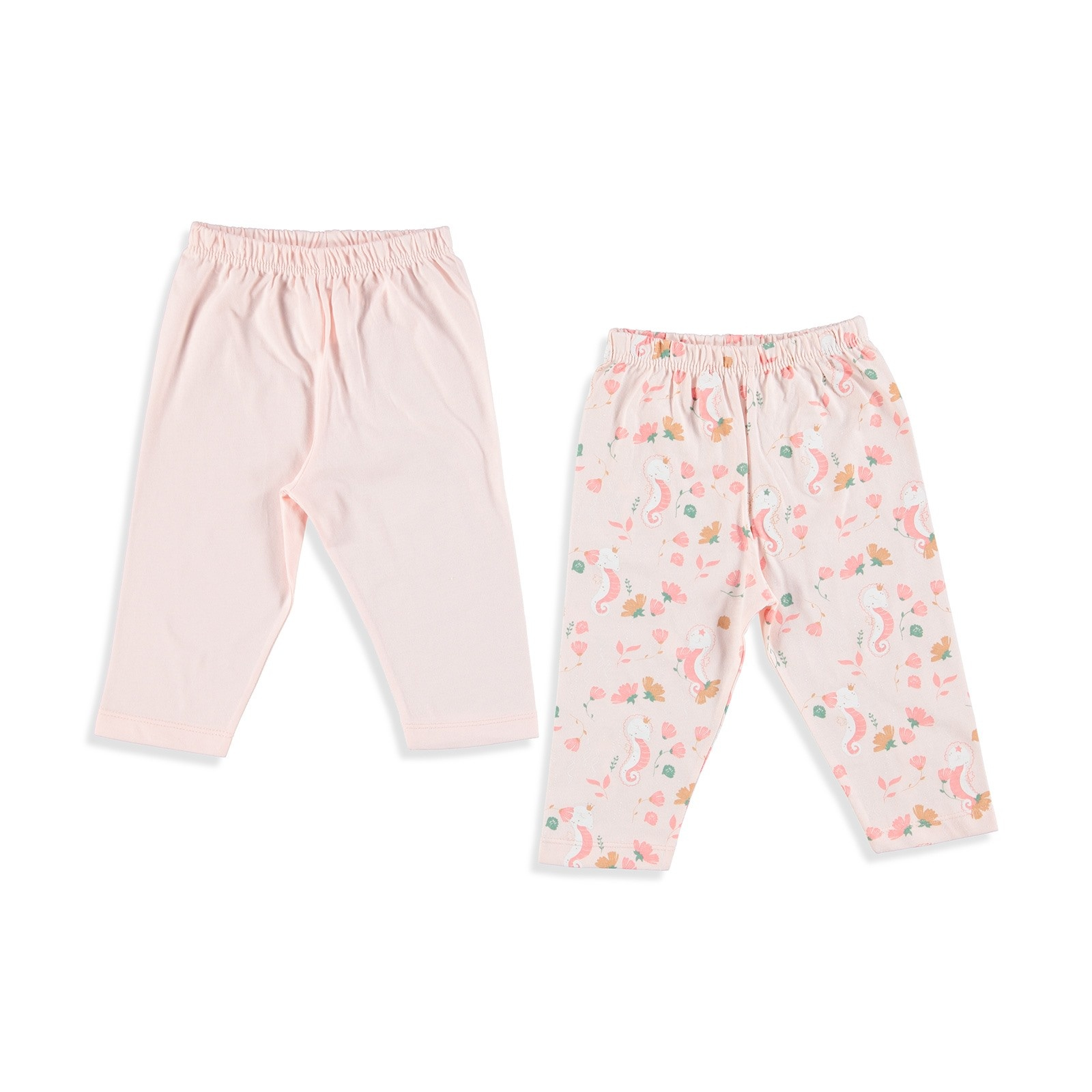 Ebebek Luggi Sea Horse Baby Girl Footless Trousers 2 Pack