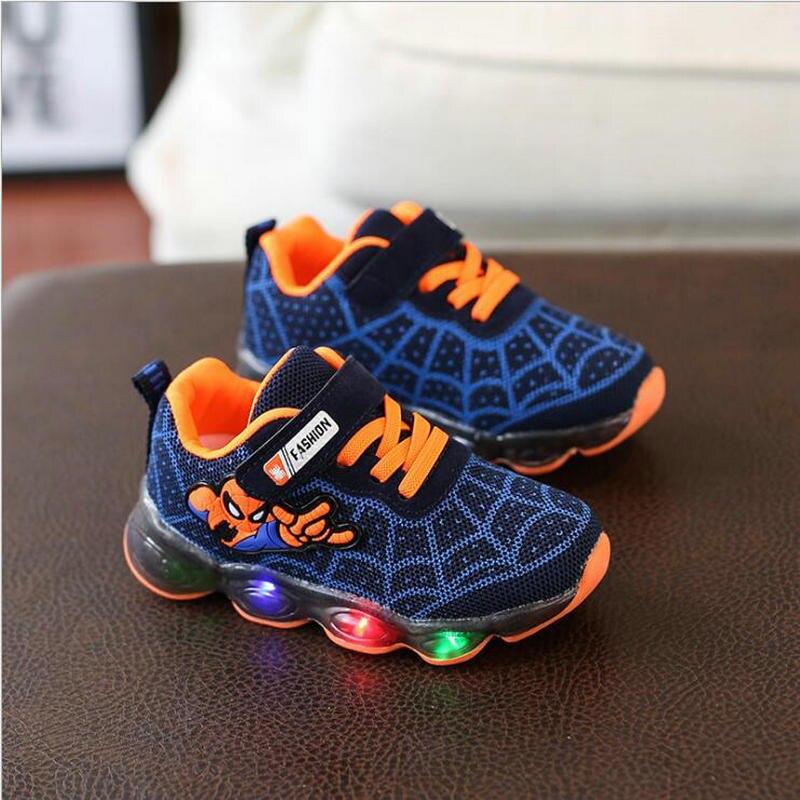 Новое поступление LED подсветкой Сникеры спайдермена детская светящаяся мягкая детская обувь для мальчиков и девочек, детская обувь Детские...