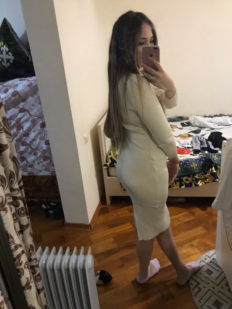 Elegant Single Breasted Women Sweater Dress O Neck Full Sleeve Sashes Stretch Vestidos Female Knee Length Knitted Dress photo review