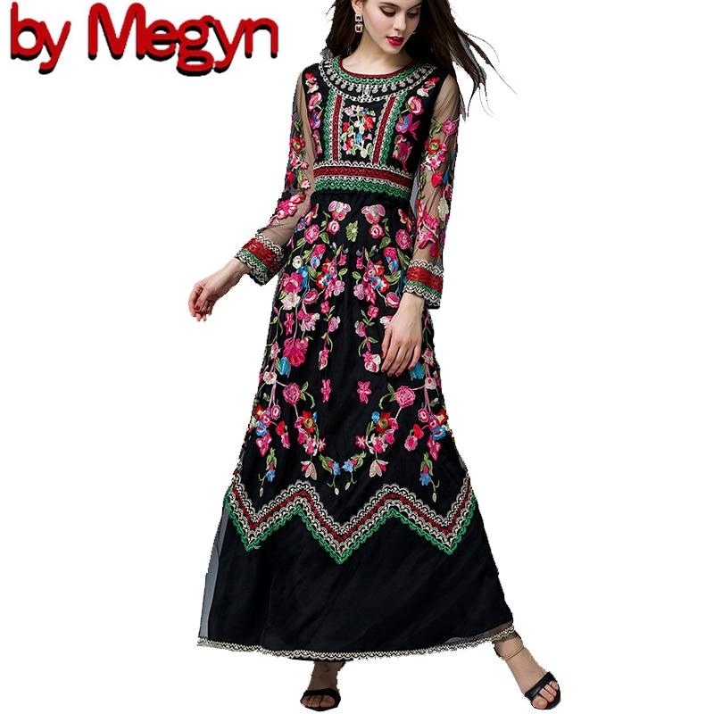 Jesień lato projektant sukienka w dużym rozmiarze kobiety z długim rękawem gaza wykwintne Retro szlachetny kwiatowy haft sukienka Vestidos wysokiej jakości w Suknie od Odzież damska na  Grupa 1