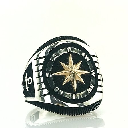 New Compass Silver Men 'S Ring