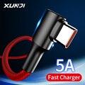 XUNJI USB Typ C Kabel Schnelle Ladegerät Kabel 5A Nylon Geflochtene Handy Kabel Für Huawei Xiaomi