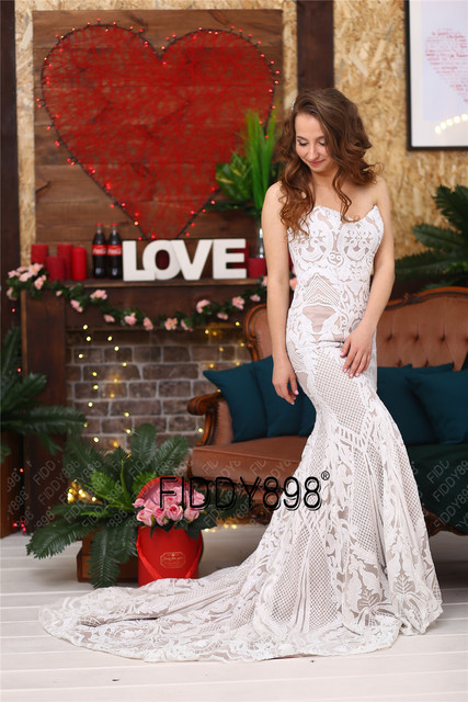 Sweeheart Mermaid Wedding Dresses Special Sequin Lace Bridal Gowns Sexy Trumpet Wedding Gown Vestido de Novia 5