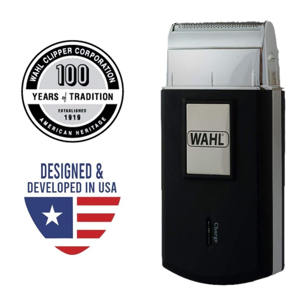 Orijinal Wahl seyahat tıraş makinesi taşınabilir elektrikli tıraş makinesi Mini sakal düzeltici ıslak ve kuru tıraş pistonlu kesici kafa su geçirmez