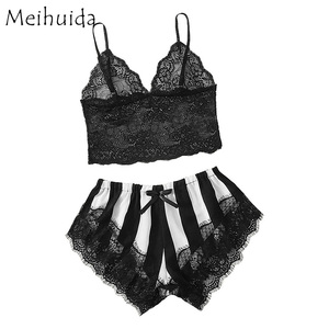 Women Sexy Lace Lingerie Bra Tops Underwear Set Summer 2019 Cut-Out Bow Sleepwear Female Pajamas Set mujer nightie home clothes