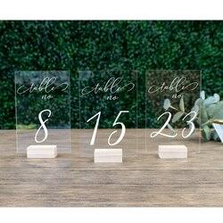 Números de mesa de boda con soportes caligrafía acrílica personalizada Número de mesa de boda señalización de madera clara Mesa número soporte