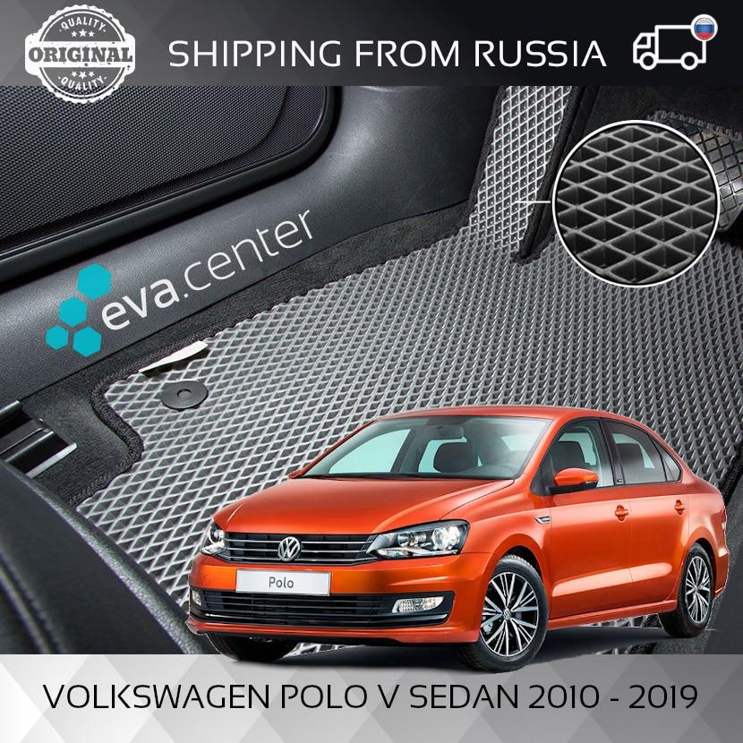 Tapis de voiture EVA pour Volkswagen Polo 2010-2019 berline ensemble de 4x tapis et sauteur/tapis voiture EVA