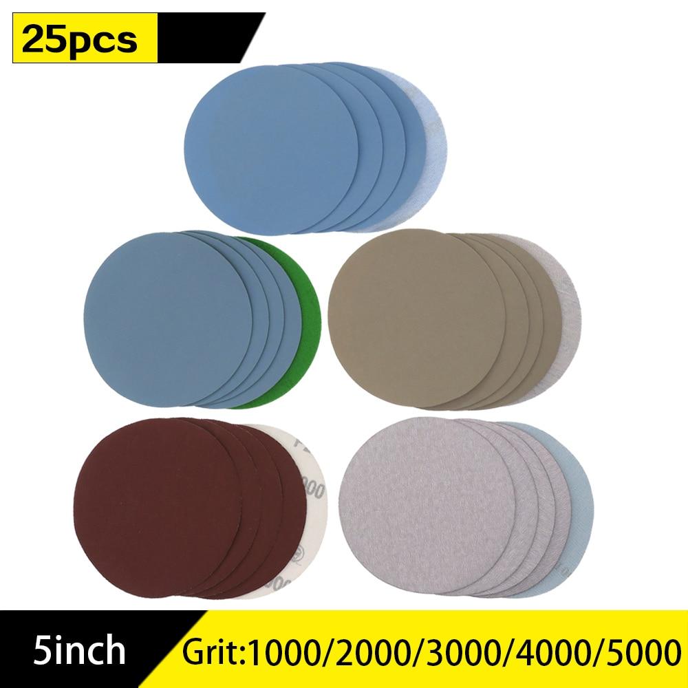 125mm 5'' Inches Dry & Wet Sanding Discs Grit 1000 /2000 /3000/ 5000/ 7000  Hook Loop Sandpaper Round Sandpaper Disk Sand Sheet