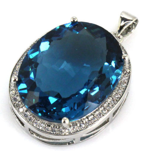 Big Oval 22x18mm Created London Blue Topas CZ Engagement Silver Pendant 25x20mm