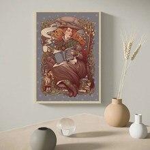 Folk sorcière Nouveau Vintage affiche Wicca païen victorien botanique livres Medusa Dollmaker toile peinture Art imprime décoration murale