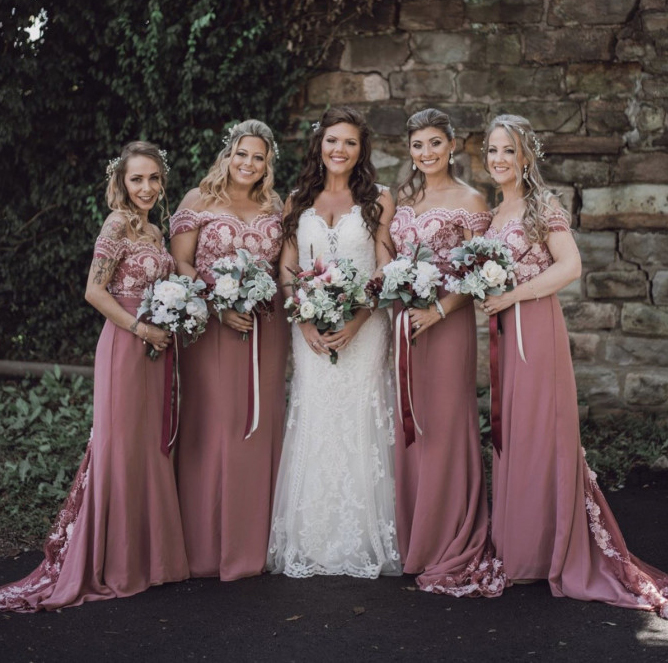 Off The Shoulder Long Bridesmaid Dresses Plus Size Mermaid 2019  Dusty Rose Wedding Formal Party Dress