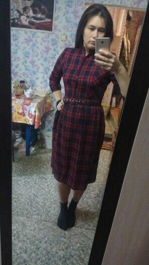 Autumn Winter Plus Size Red Plaid Cotton Midi Dresses Women Elegant Korean Bodycon Tshirt Dress Party Long Sleeve Vestidos photo review