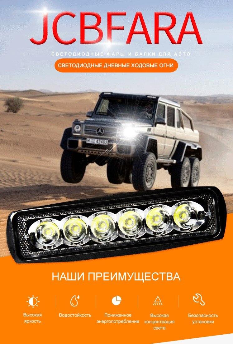 U1aab5dc621b74b1a85b829ec4485837e9 2pieces 18w DRL LED Work Light 10-30V 4WD 12v for Off Road Truck Bus Boat Fog Light Car Light Assembly ATV Daytime Running Light