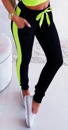 KIL5477 Women Sweatpants Patchwork Design Color Matching Mid Waist Pencil Pants Summer