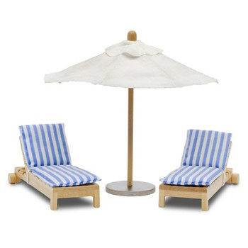 Doll House Accessories Lundby  Set of furniture for House chairs with umbrella for children toys for kids game furniture dolls doll houses furniture for doll houses bed for dolls accessories caribbean houses