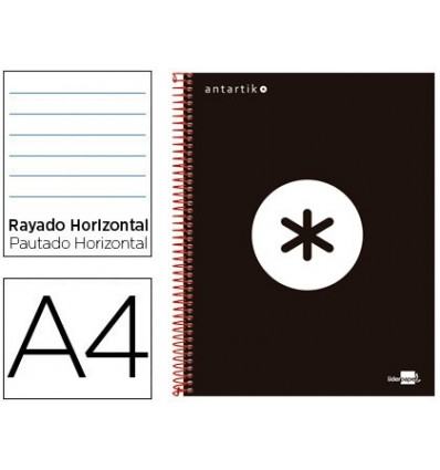 SPIRAL NOTEBOOK LEADERPAPER A4 MICRO ANTARTIK LINED TOP 120H 100 GR HORIZONTAL 5 BANDS 4 HOLES COLOR BLACK