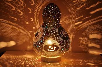 Handmade gourd lamp night light gift lampshade chandelier decoration vintage desktop pumpkin birthday home decor design noel