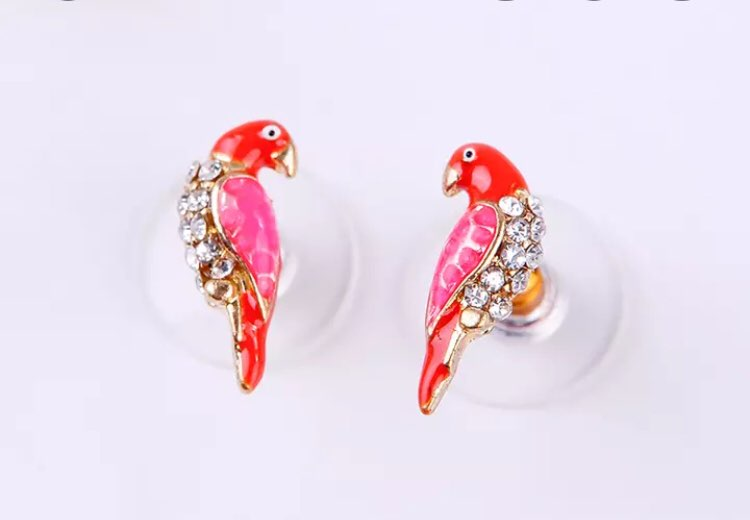Parrot Crystal Red Enamel Stud Earrings