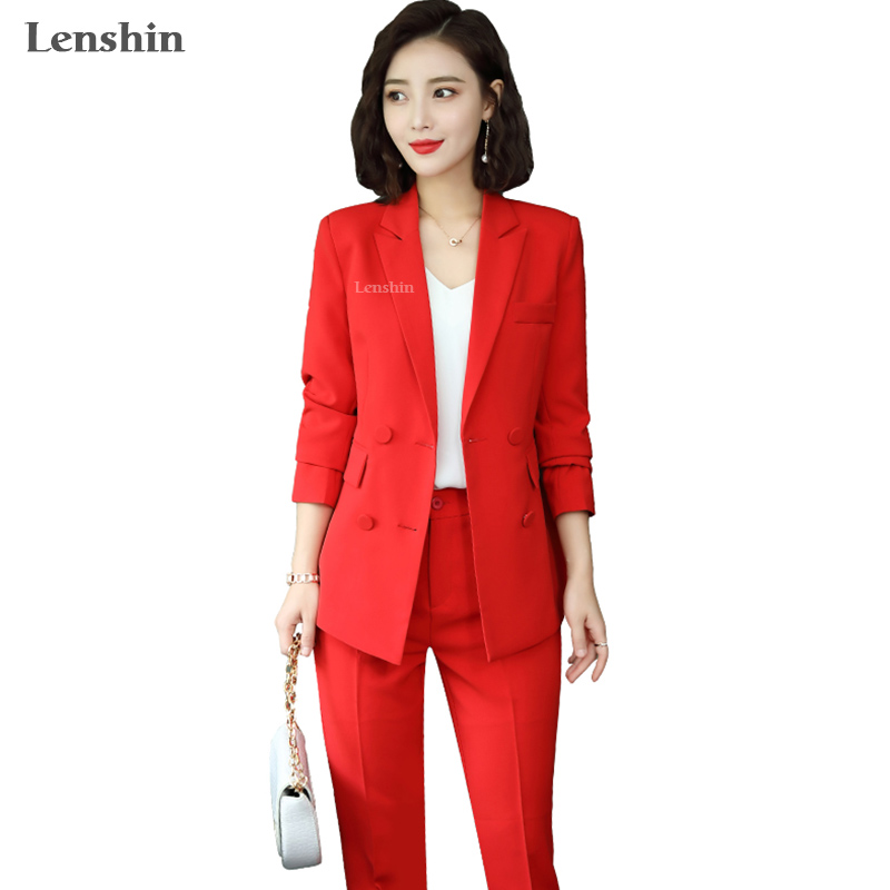 Lenshin High Quality 2 Piece Set Double-breasted Casual Pant Suit Blazer Fashion Lady Designs Women Soft Jacket And Pant