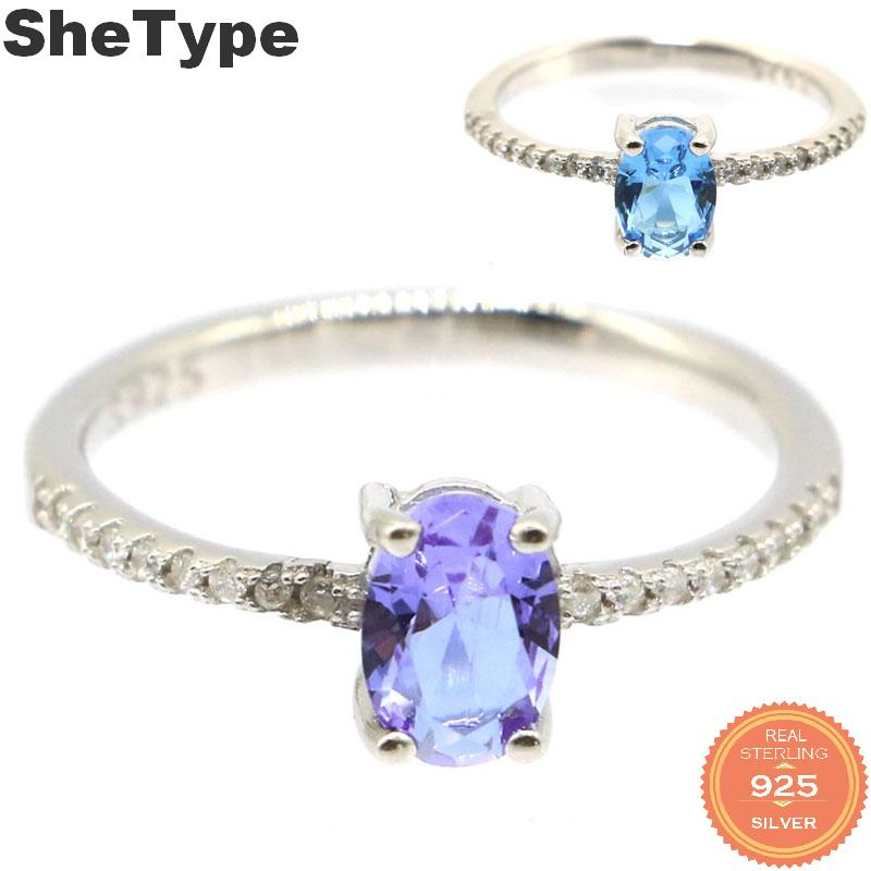 7x5mm 2019 Simple Style 1.6g Color Changing Alexandrite & Topaz CZ Gift For Girls 925 Solid Sterling Silver Rings