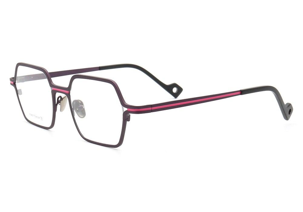 Pure Titanium Square Hot New Hexagon Full-Rim Lightweight Eyewear Unique Rx-able Eyeglass Frames Men Women Silver Red Brown