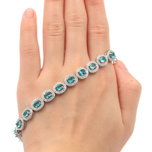 10x8mm SheCrown Created Rectangle Rich Blue Aquamarine White CZ Gift Silver Bracelet 8.0-9.0INCH