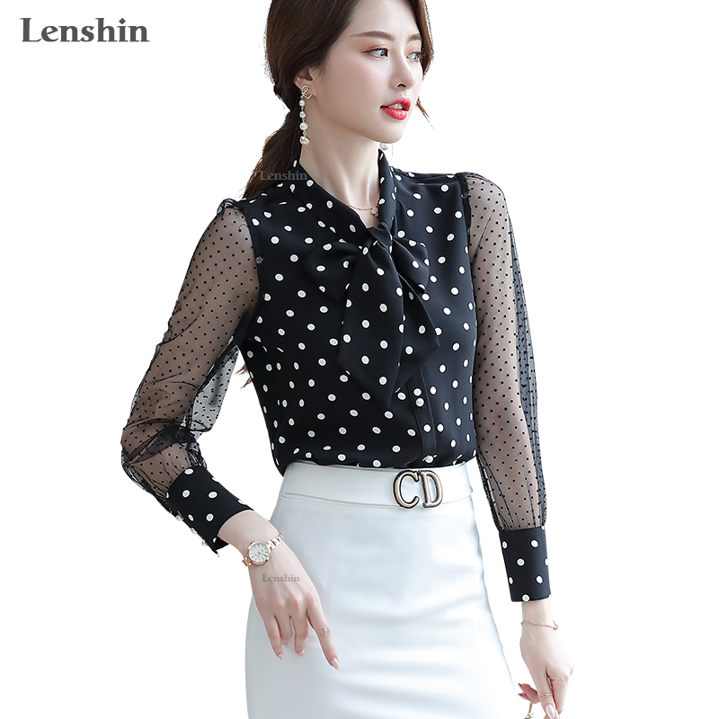 Lenshin Polka Dot Transparent Mesh Shirt Breathable Soft Blouse With Tie Women Female Wear Casual Style Office Lady Tops