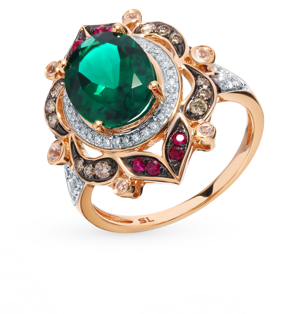 Gold Ring With Cognac Diamonds, Rubies, Sapphires And Emerald Sunlight Sample 585