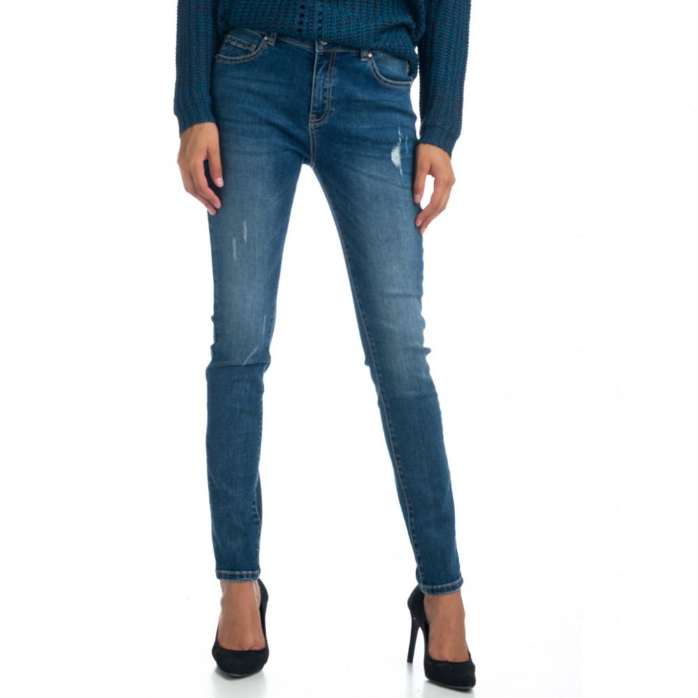 KOROSHI PANT LARGO NORMAL DENIM ELASTICO MUJER