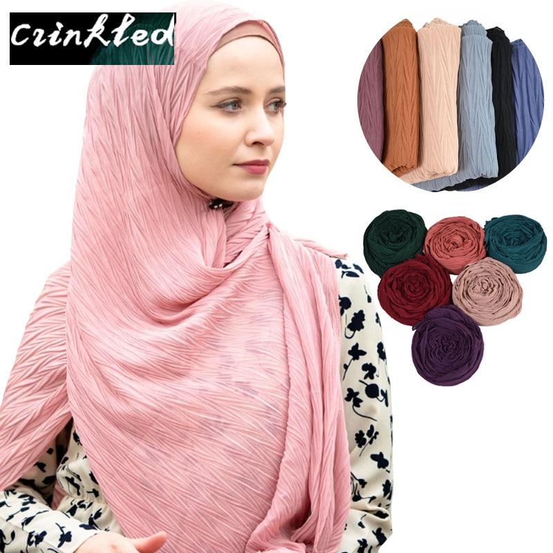 New Crumpled Plain Bubble Chiffon Scarf Crinkle Hijab Scarf Fashion Wrap Headband Muslim Wrinkle Hijabs Shawls 10 PCS/Lot