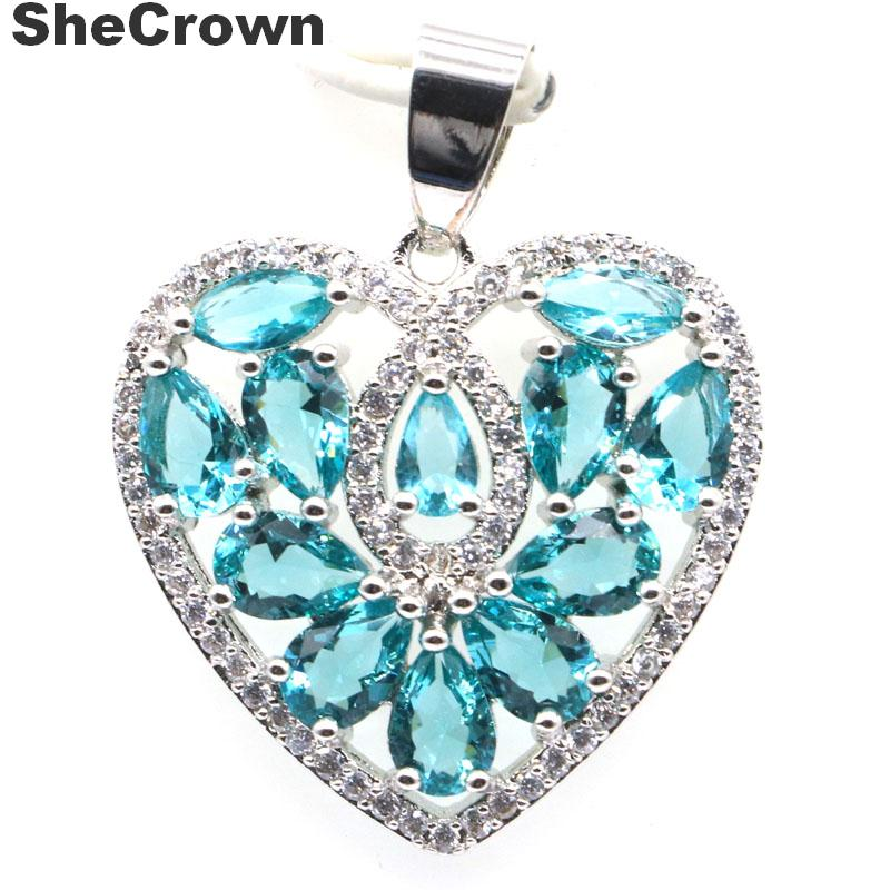 31x24mm Multi Color Heart Shape Created Rich Blue Aquamarine CZ SheCrown Silver Pendant
