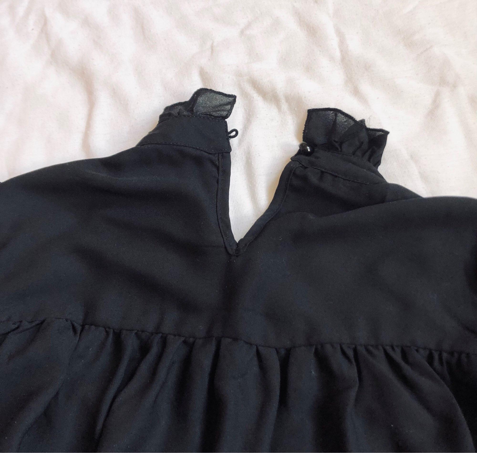Hot 2019 autumn new fashion women's temperament commuter puff sleeve small high collar natural A word knee Chiffon dress reviews №4 510444