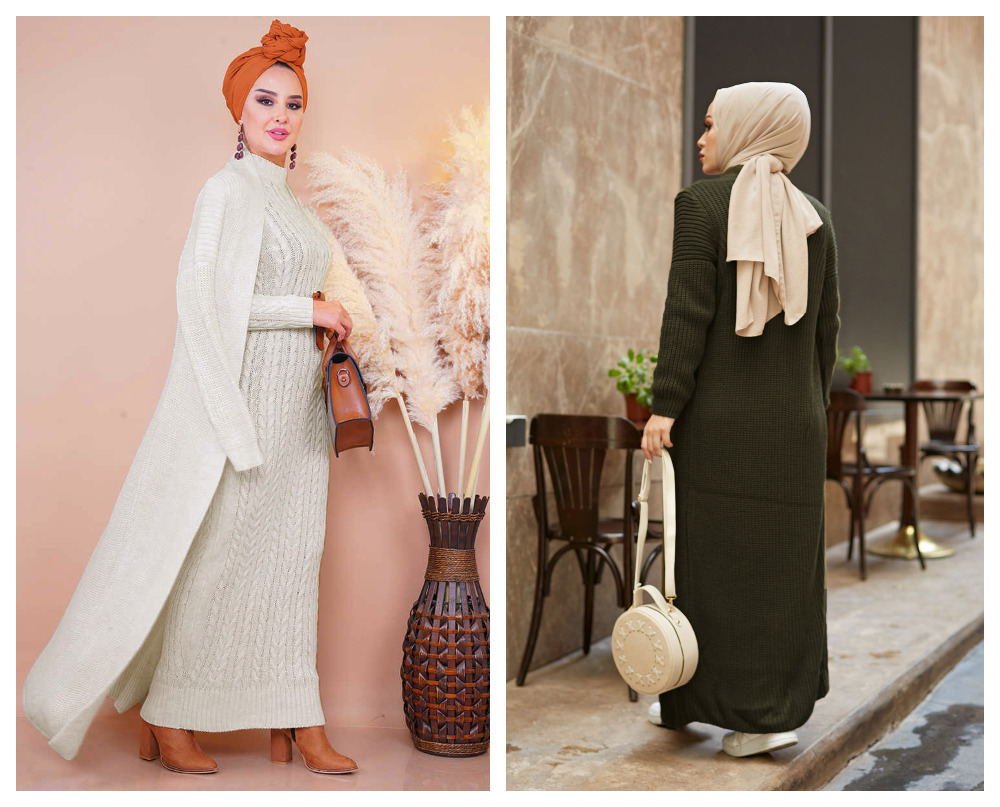 2 Pieces Woman Dress Knitted suit,New version, Color options,thick warm women's dress,Islamic Clothing,Muslim clothings,Turkey