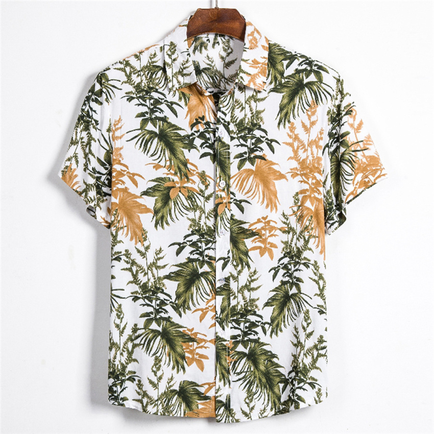 Leaf Printed Shirt Men Short Sleeve Button Shirt Summer Hawaiian Shirt Male Casual Camisa Masculina Printed Beach Shirts Brand