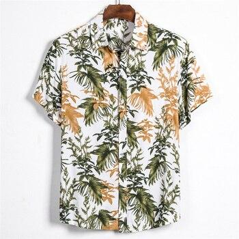 Leaf printed Shirt Men Short Sleeve Button Summer Hawaiian Male Casual camisa masculina Printed Beach Shirts brand