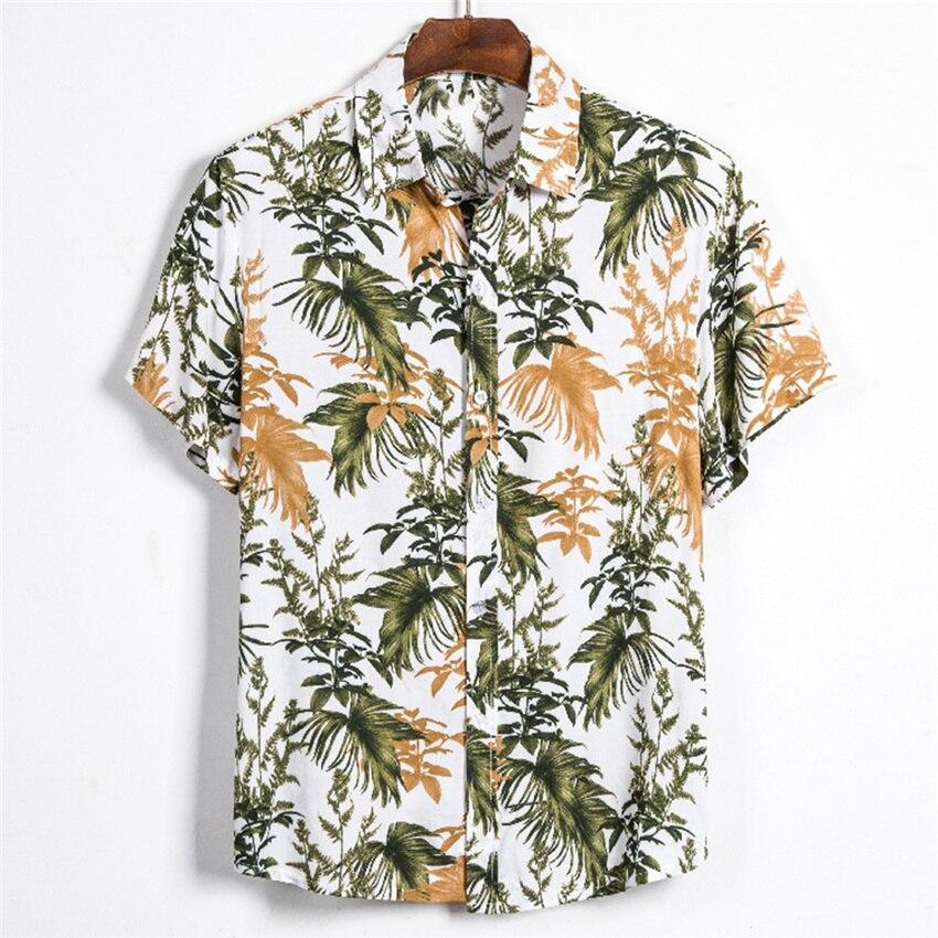 Leaf printed Shirt Men Short Sleeve Button Shirt Summer Hawaiian Shirt Male Casual camisa masculina Printed Beach Shirts brand