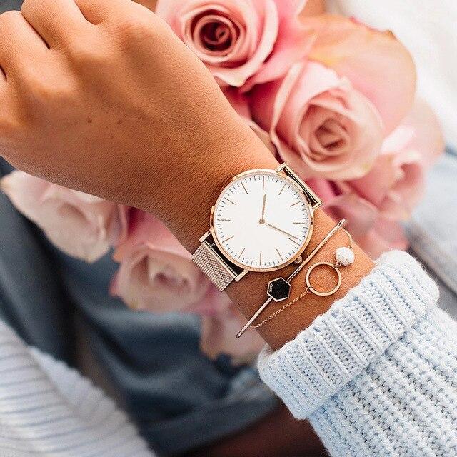 Luxury Rose Gold Watch Women Bracelet Watches Top Brand Ladies Casual Quartz Watch Steel Women's Wristwatch Montre Femme Relogio 4