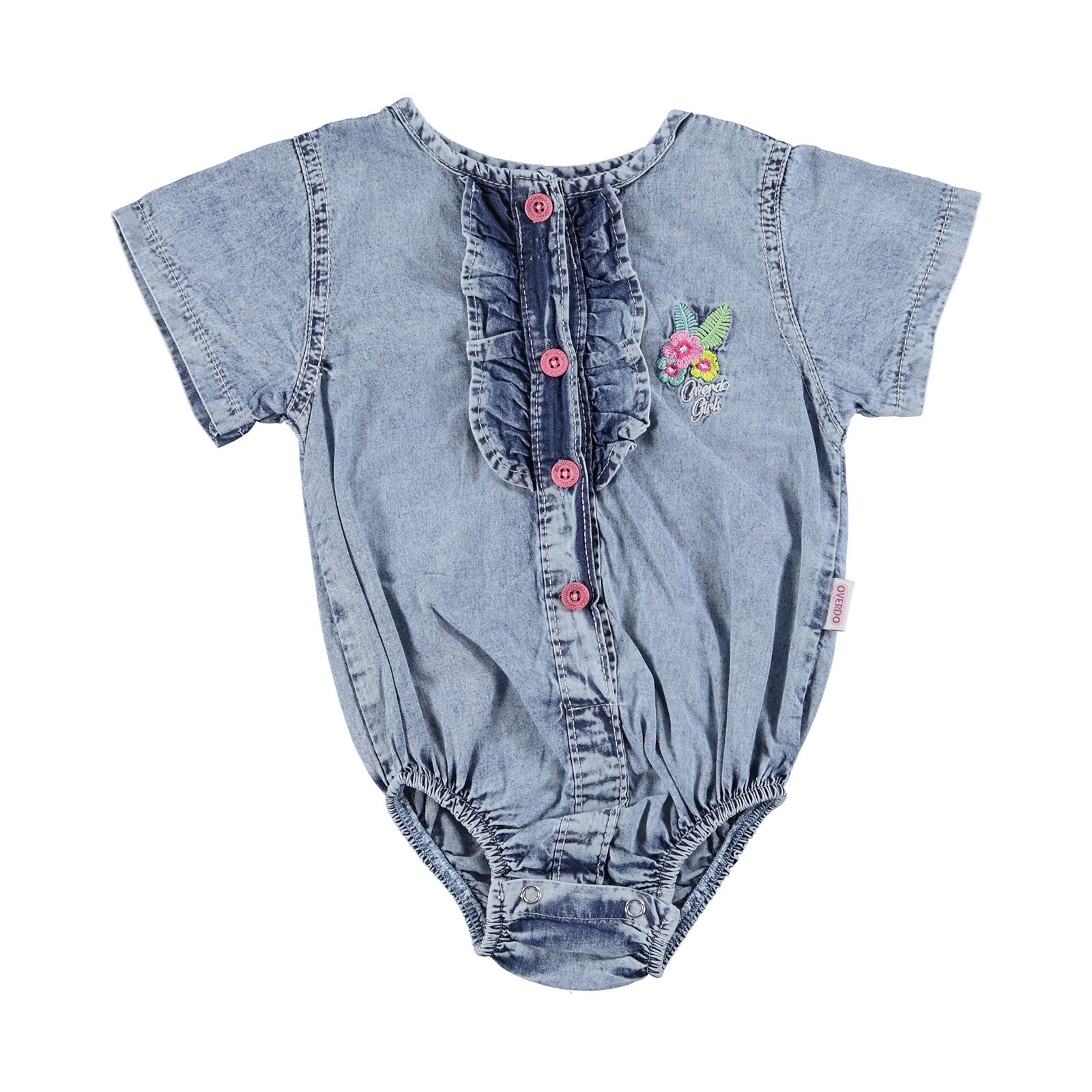Ebebek Overdo Baby Girl Embroidered Short Sleeve Denim Shirt Bodysuit