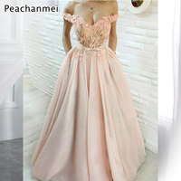 Sexy Blush Evening Dress Lace Appliques Satin A Line Off the Shoulder Evening Prom Dresses Spaghetti Formal Gowns robe de soiree