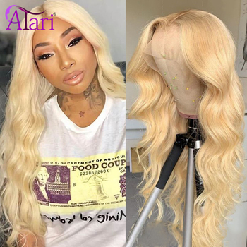 13x4 13x6 613 Honey Blonde Body Wave Lace Front Wig Light Yellow Purple Transparent Lace Frontal Wigs Peruvian Virgin Human Hair image