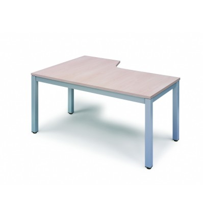 OFFICE TABLE EXECUTIVE SERIALS L SHAPE RIGHT 180X120 ALUMINUM/BEECH