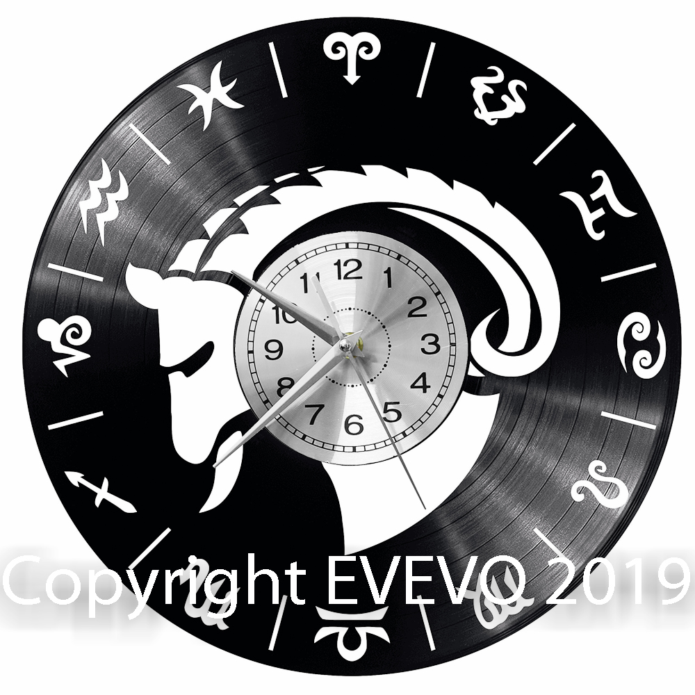 Zodiac Sign Capricorn Clock Vinyl Vinyl Record Retro Clock Handmade Vintage Gift Style Room Home Decorations Great Gift