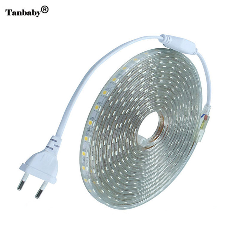 LED Strip IP67 Waterproof SMD 5050 AC220V led strip flexible light EU Power Plug 60leds/m 1M 2M 3M 5M 10M 15M Indoor Outdoor Led