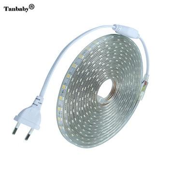 Светодиодная лента IP67 водонепроницаемая SMD 5050 AC220V Светодиодная лента гибкий светильник штепсельная вилка европейского стандарта 60 светоди...