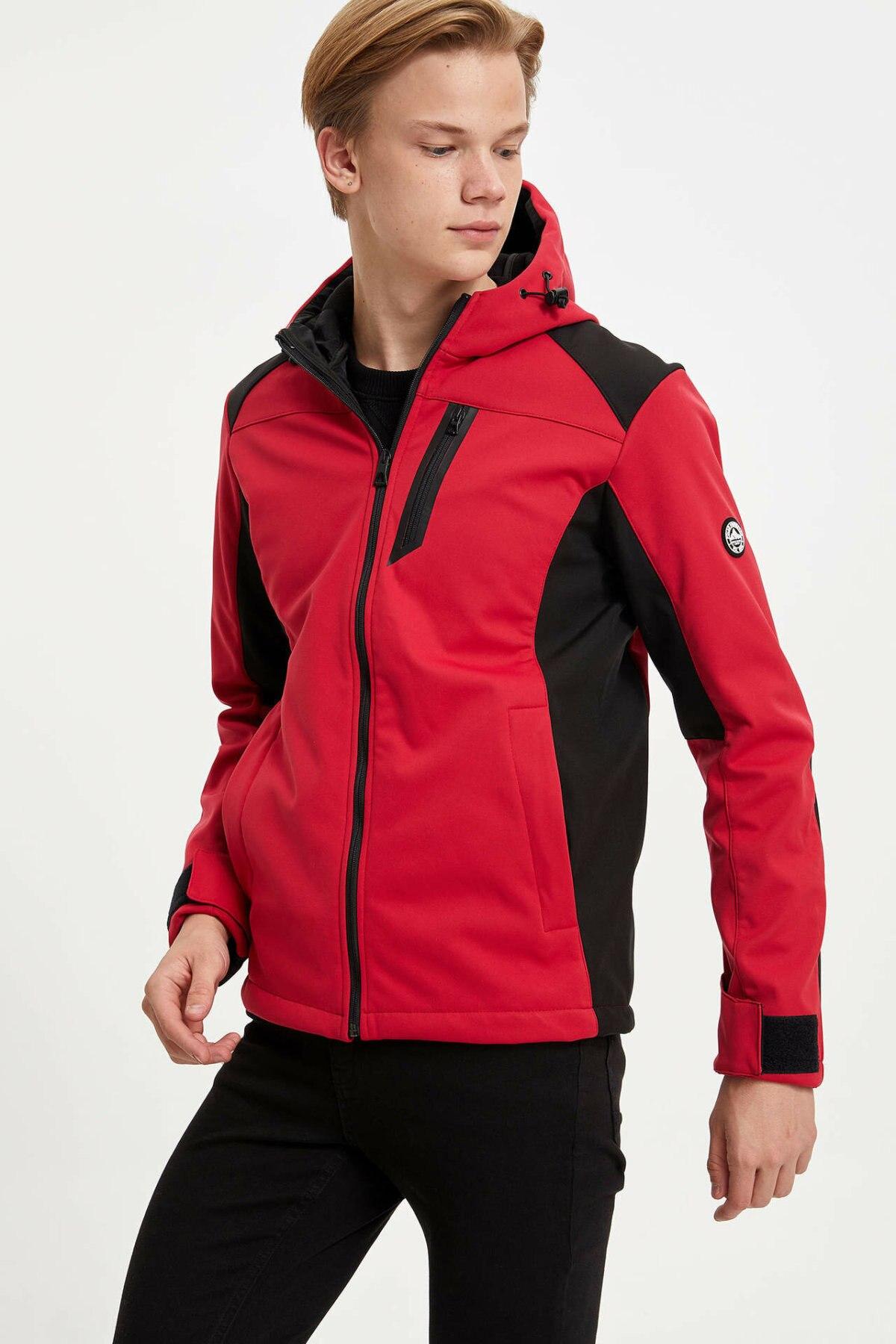 DeFacto Man Autumn Casual Sports Coats Men Thick Hooded Mont Coats Men Mixed Black Red Cotton Coats-K8325AZ19AU